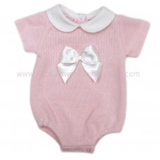 MC400P: Baby Pink Knitted Romper With Bow (0-9 Months)