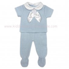 MC401B: Baby Sky Knitted 2 Piece Outfit With Bow (0-9 Months)