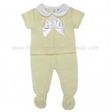MC401L: Baby Lemon Knitted 2 Piece Outfit With Bow (0-9 Months)