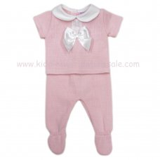 MC401P: Baby Pink Knitted 2 Piece Outfit With Bow (0-9 Months)