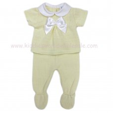 MC402L: Baby Lemon Knitted 2 Piece Outfit With Bow (0-9 Months)