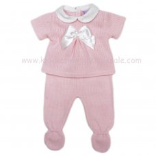 MC402P: Baby Pink Knitted 2 Piece Outfit With Bow (0-9 Months)