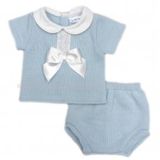 MC404B: Baby Sky Knitted 2 Piece Outfit With Bow (0-9 Months)