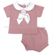MC404DP: Baby Dusky Pink Knitted 2 Piece Outfit With Bow (0-9 Months)