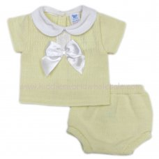 MC404L: Baby Lemon Knitted 2 Piece Outfit With Bow (0-9 Months)
