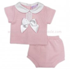 MC404P: Baby Pink Knitted 2 Piece Outfit With Bow (0-9 Months)