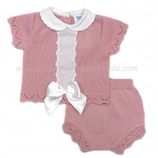 MC413DP: Baby Dusky Pink Knitted 2 Piece Outfit With Bow (0-9 Months)