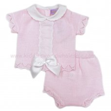 MC413P: Baby Pink Knitted 2 Piece Outfit With Bow (0-9 Months)