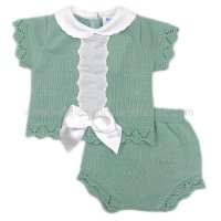 MC413SG: Baby Sage Green Knitted 2 Piece Outfit With Bow (0-9 Months)