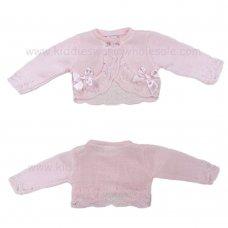 MC416BPINK: Baby Pink Bolero Cardigan With Bows (9-24 Months)