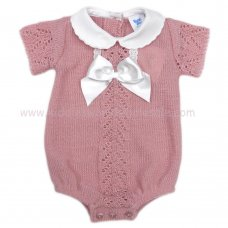 MC420DP: Baby Dusky Pink Knitted Romper With Bow (0-9 Months)