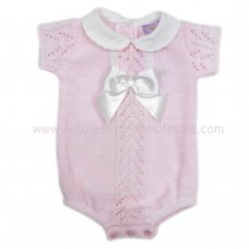 MC420P: Baby Pink Knitted Romper With Bow (0-9 Months)
