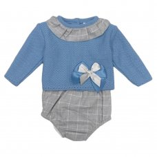 MC600PT: Baby Petrol Blue Knitted 2 Piece Outfit (0-12 Months)