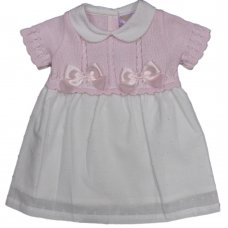 MC700: Baby Cotton Knitted/Woven Dress With Bows (0-9 Months)