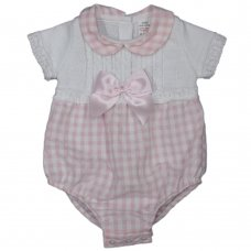 MC701: Baby Cotton Knitted/Woven Check Romper With Bow (0-9 Months)