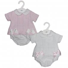 MC702-White: Baby Cotton Knit 2 Piece Set With Double Bows (0-9 Months)