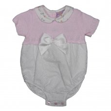 MC703: Baby Cotton Knitted/Woven Romper With Bow (0-9 Months)