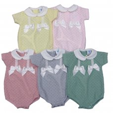 MC705-Grey: Baby Double Bow Knitted Romper (0-9 Months)