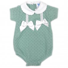 MC705-Sage: Baby Double Bow Knitted Romper (0-9 Months)