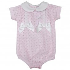 MC705-Pink: Baby Double Bow Knitted Romper (0-9 Months)