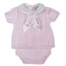 MC706-Pink: Baby Bow & Lace Knitted 2 Piece Set (0-9 Months)