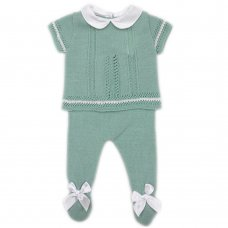 MC726-Sage: Baby Double Bow Knitted 2 Piece Set (0-9 Months)