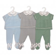 MC726-Sky: Baby Double Bow Knitted 2 Piece Set (0-9 Months)
