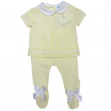 MC726-Lemon: Baby Double Bow Knitted 2 Piece Set (0-9 Months)