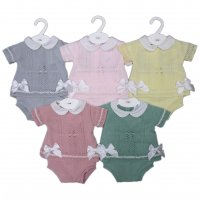 MC727-Pink: Baby Knitted 2 Piece Set With Double Bows (0-9 Months)