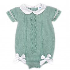 MC730-Sage: Baby Double Bow Knitted Romper (0-9 Months)