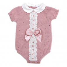 MC744-Dusky Pink: Baby Knitted Romper With Bow & Lace (0-9 Months)