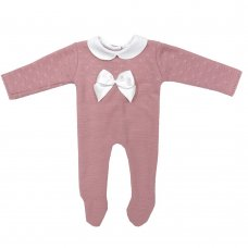 MC757-Dusky Pink: Baby Bow Knitted All In One (0-9 Months)