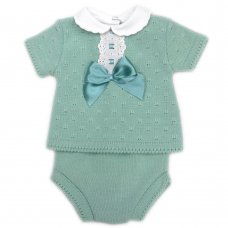 MC764-Sage: Baby Knitted 2 Piece Set With Bow & Lace (0-9 Months)
