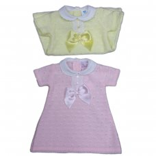 MC765-Pink: Baby Knitted Dress With Bow & Lace (0-9 Months)
