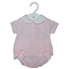 MC777-Pink: Baby Knitted 2 Piece Set With Double Bows (0-9 Months)