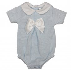 MC779-Sky: Baby Knitted Romper With Bow (0-9 Months)