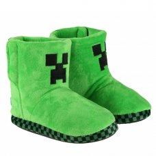 04478: Kids Minecraft Creeper 3D Green Boots (Kids Shoe Sizes: 8-13)