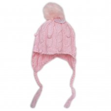 N15834: Baby Girls Cable Knit Fur Pom Pom Hat (6-24 Months)