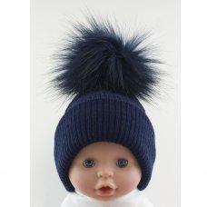 BW-0503-0606N-MED/LRG: Baby Navy Pom-Pom Hat (6-18 Months)