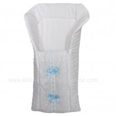 Broderie Anglaise Baby Nest With Ribbon & Bows: White/Sky