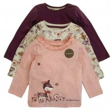 NG35: Girls 3 Pack Long Sleeve Tops  (1-6 Years)