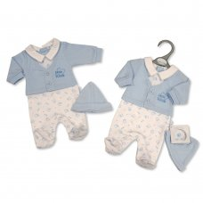 PB-20-351: Premature Baby Boys Faux 2 Piece Set with Hat - Little Love