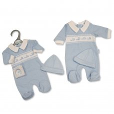 PB-20-354: Premature Baby Boys Smocked All in One with Hat - Little Love