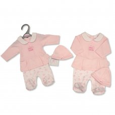 PB-20-357: Premature Baby Girls Faux 2 Piece Set with Hat - Little Love
