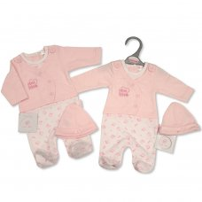 PB-20-358: Premature Baby Girls Faux 2 Piece Set with Hat - Little Love
