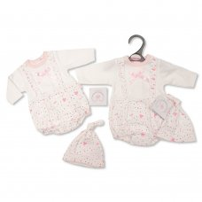 PB-20-364: Premature Baby Girls Romper with Bow and Hat - Hearts