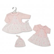 PB-20-365: Premature Baby Girls Dress with Bow and Hat - Hearts