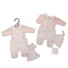PB-20-366: Premature Baby Girls 2 Piece Dungaree Set with Bow and Hat - Hearts