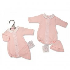 PB-20-369P: Premature Baby Girls Romper With Lace & Hat Set