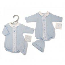 PB-20-369S: Premature Baby Boys Romper With Lace & Hat Set